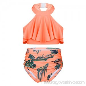 YiZYiF Girls' Kids 2-Pieces Flounce Ruffled Swimsuit Halter High Waisted Bikini Sets Swimwear Bathing Suits Orange B07QD63K1D