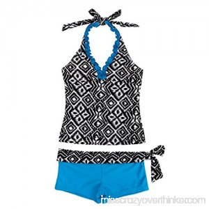 dPois Big Girls' Two Pieces Summer Tankini Swimwear Swimsuit Geometric Halter Top with Shorts Blue B07CHMN6G2