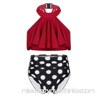 dPois Kids Girls' 2PCS Halter Ruffled Tankini Swimsuit Swimwear Flounced Crop Top with Bottoms Red B07QFRBV6T