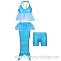 dPois Kids Girls' Mermaid Fancy Swimsuit Swimwear Halter Ruffled Tops with Mermaid Tail and Shorts 3Pcs Set Blue B07QFT1GL2