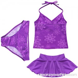 winying Girls 3PCS Purple Flower Printed Tankini Swimsuit Halter Top with Bottoms Skirt Set Swimwear B07QBPWMG4