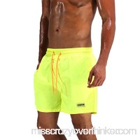 Ancmaple Men's Shorts Swim Trunks Beach Shorts Pockets Yellow B07CCPJ92V