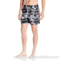 Blueport Men's Elastic Waist Photo Real Print Swim Trunk Black B01N8QRHEO