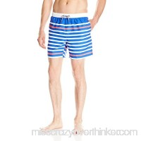 Boston Traders Men's Striped Volley Swim Trunk White B01AB19AEE