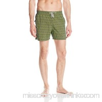 Danward Men's Feather Print Elastic Waist Capri Swim Trunk Slate B06XHXM6KG