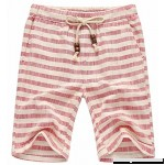 AIEOE Men Linen Shorts Drawstring Hand Pockets Soft Breathable Boardshorts Striped Red B07BZ89FHZ