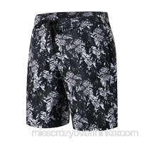 HUGE SPORTS Summer Swimming Shorts Beach Pocket Quick Dry Men's Board Shorts Black Leaf B07CGJ63GQ