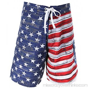 Men's USA Flag Boardshorts Medium Red White Blue B06X8ZXK8G
