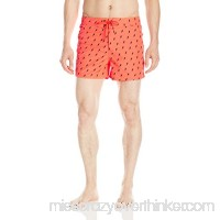 Sundek Men's 14 Low Rise Printed Swim Short Fluorescent Orange B01LSXICM0