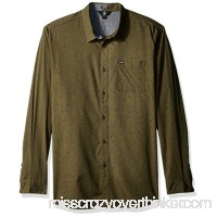 Volcom Men's Smashed Star Long Sleeve Button up Shirt Military B06XFWT5ZW
