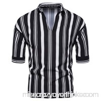 2019 New Mens Summer Fashion Striped Casual Beach Short Sleeve Shirts Tops Gray B07QGFJLT7