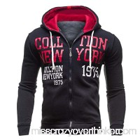 AMOFINY Men's Tops Autumn and Winter Hooded Zipper Sweater Trend Blouse Red B07P951SP2