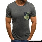 AMOFINY Men's Tops Muscle T-Shirt Slim Casual Fit Short Sleeve Camouflage Pocket Blouse Top Gray B07P71K844