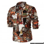 AMOFINY Men's Tops Personality Summer Casual Slim Long Sleeve Printed Shirt Top Blouse Brown B07P99QXN7