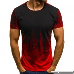 AMOFINY Men's Tops Tee Slim Fit Hooded Short Sleeve Muscle Casual Blouse Shirts Red B07P5MVWRM