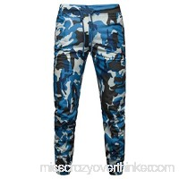 Alangbudu Men Casual Camouflage Jogger Pants Biker Slim Fit Casual Active Elastic Gym Athletic Sports Trousers Sweatpants Blue B07PSHSRCM
