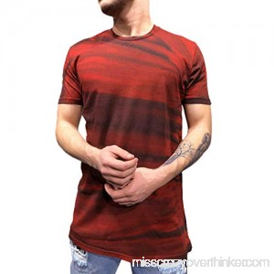 Casual Print T Shirt,Donci Color Stripe Fashion Spring and Autumn Tops Casual Sports Round Neck Men's New Tees Red B07Q271KKP