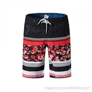 Colmkley Men's Swim Trunks Stitching Color Printed Casual Quick Dry Beach Shorts Red B07MHKYPCY
