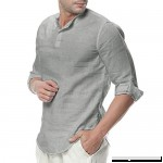 Cotton and Linen T Shirt Donci Fashion Button v Neck Solid Color Tees Gray B07NT1LT7X