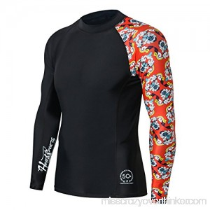 FAFNIR Men's UPF 50+ Compression Rash Guard-Splicing Long Sleeve Swim Shirt Black-Bee Together B07F1HSZJ9