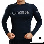 FITTOO Men's Compression Rash Guard Long Sleeve SPF40+ UV Protection Swimsuits Top Black White S-XXXL Black B0793LP5ZZ