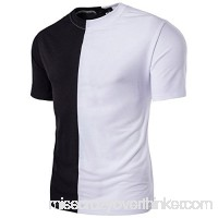 Fashion Color Matching T Shirt Men,Donci Round Neck Stitching Slim Fit Basic Tees Summer New Casual Sports Short Sleeved Tops White B07NT1FQS6