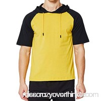Fashion Leisure Men Stitching Two Colors Fitness Hooded T-Shirt Short Sleeve Top Black B07QGR87RG