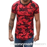 Fashion Mens Camouflage Compression Crossfit Shirt Fitness Elastic Slim Fit Tops Red B07PSK1P1C
