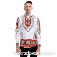 Fashion Mens Vintage African Print Long Sleeve Turn-Down Collar Tops Shirt Red B07PRCZ2SP