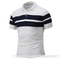 Fashion Polo T Shirt Donci Summer Slim Comfort Daily New Mens Tees Lapel Button Stripe Polyester Short Tops White B07Q72PT6T