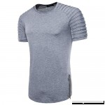 Fashion Solid Color T Shirt,Donci Raglan Striped Hem Short Tops Round Neck Casual Sports Summer New Men's Tees Gray B07Q55DKXF