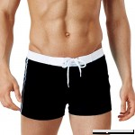 Men's Swim Trunks Square Leg Swimming Slim Wear Fitness Shorts Boxer Briefs Beach Swimwear Swimsuits with Pocket Black B07P8PW7QZ