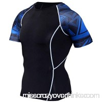 PKAWAY Mens Black Short Sleeve Compression Shirt Blue Sleeve Sports T Shirt B07NKB89ZC