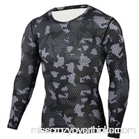 PKAWAY Mens Slim Fit Long Sleeve Camo Compression Shirt for Running Quick Dry B07QGPWGT3