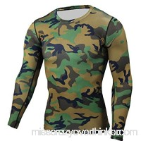 PKAWAY Mens Slim fit Long Sleeve Camo Compression Shirt for Running Green B07PLCHKSK