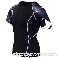 PKAWAY Slim Fit Quick Dry Black Short Sleeve Compression Workouts Shirt Baselayer B07PXHXFM8