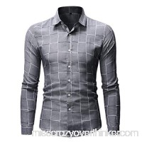 Plaid Shirts for Men Stand Collar Button Down Long Sleeve Office Undershirt Masculinous Holiday Tops Gray B07PY18LSK