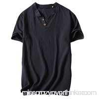 Plain T Shirt Men,Donci Cotton and Linen Casual Basic Tees Comfortable Sweat Absorbent Summer New Tops Black B07Q445FP6