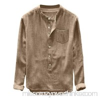 Trule Men's Casual Loose T-Short Long-Sleeved Button-Lapel Top Comfortable Linen Solid Color Shirt Khaki B07QB29B9K