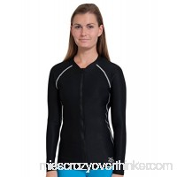 Tuga Adult Unisex Chlorine Resistant Zip Rash Guards UPF 50+ Sun Protection Black B00VB18TLO