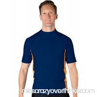 Tuga Men's Swim Performance Rash Guard UPF 50+ Sun Protection Navy Orange B07QFBKDSR