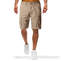 yoyorule Casual Pants Men's Casual Pure Color Outdoors Pocket Beach Work Trouser Cargo Shorts Pant 34 B07PRGSCR3