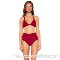 Becca by Rebecca Virtue Women's Crossroads Halter Bikini Top Crimson B07KGLB42J