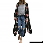 Fashion Chiffon Shawl Print Kimono Cardigan Top Cover Up Blouse Beachwear Women Black B07NL73ZLT