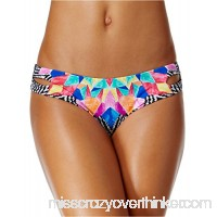 Bar III Women's Feather Daze Reversible Cheeky Hipster Bikini Bottom Black Multi B078T31HZ1