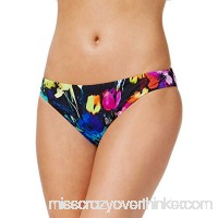 Bar III Women's Painted Posies Floral-Print Cheeky Bikini Bottoms Black Multi B079SYC2HR