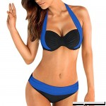 AMOFINY Women's Fashion Swimwear Push up Padded Bra Bandeau Low Waist Bikini Swimsuit Plus Size Blue B07NXS27KV