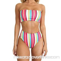 Alangbudu Women's Strapless Padded High Cut High Waisted Two Piece Wide Bandeau Bikini Set Multicolor B07NYCFXMP