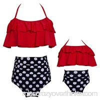 Arielno Mommy and Daughter Two Pieces Swimwear Bikini Sets Women Girls Bathing Suit Red B07MCM6DH3