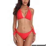 Avellara Womens Halter Triangle Bikini Swimsuits String Two Piece Bathing Suit Coral Halter B07J3Z2858